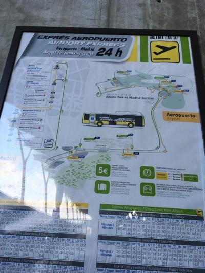 翌朝マドリードに到着!<br />空港からはバスでアトーチャ駅まで。<br />ターミナル4(始発/終点)から乗ったので座れました。5ユーロです。切符は運転手さんから購入します。