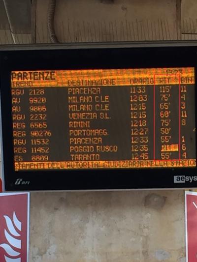 9/16 ボローミャからミラノにitaloにて移動。(出発前に予約済)<br /><br />お土産いっぱい買ってスーツケースが激重になったのでタクシーで移動し、駅地下2Fでタクシーを降り、華麗にボローニャからミラノに向けて出発する予定だった。<br />12:03発の列車だったが、ここでイタリア鉄道の魔の手にかかることになるとは…。<br /><br />写真の通り、すべての電車がガッツリ遅れていた。すこぶるヤな予感。<br />15min、25min、60minとどんどんDelay表示が長くなる。<br /><br />到着ホームがなかなか表示されずに時間だけが過ぎていく。やっと表示されたらホームが地下4Fから地上1Fへ変わってしまい、慌てて大移動したが、待てど暮らせどなかなか来ない。来ても違う列車が来たりして、アナウンスもまったくわからないのでとにかく焦りまくった。<br /><br />そうこうしているうちに到着予定の掲示板から、乗るはずの列車の表示が忽然と消えてしまい、途方に暮れてしまった。<br /><br />あきらめて一度ホームから降りよう(連絡通路の地下1Fに降りること)とした時に、遠くに列車が見え慌てて戻ったら、待っていたホームにitaloの赤い車両が入線してきた。なんとか2時間超遅れで乗り込めたが、走行速度も遅く列車は遅れる遅れる…。<br /><br />12:03発→13:18着の予定が、16時過ぎにミラノ中央駅に到着。<br />予約していたミラノのアパートメントへの到着は17時くらいになってしまった。<br /><br />せっかく奮発してPrimaの席を予約したのに、これだけ遅れると予定が狂ってしまったガッカリ感のほうが大きい。