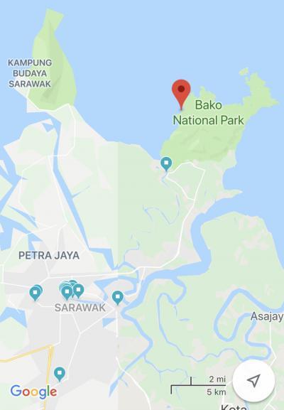 バコ国立へはボートに乗って行く必要があります。<br />船着場のあるところまでレンタカーまで行きました。<br />上の写真の赤いマーカーのところがバコ国立公園、その下の青いマーカーがバコ国立公園へ行くための船着場。<br />左下の青いマーカーが集まってるところが、クチン市街です。<br />クチン市街からは車で30分ほどで、船着場にいけます。