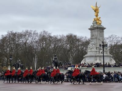 宮殿脇の歩道ででしばらく待っていたら、いつの間にかガードレールの一番手前まで来れました!<br />ヴィクトリア記念堂と馬に乗った衛兵達。<br />カッコイイです♡