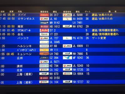 この日は台風で遅れや運休が続発。<br />幸い搭乗する便は定刻出発でした。