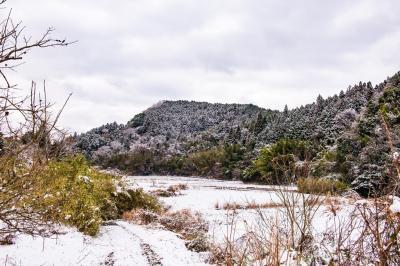 天気予報とはウラハラに空はドンヨリ、山間部は今朝の雪が残っています。<br />安心院町佐田の雪景色です。