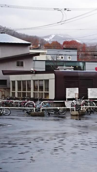 翌日の朝空港に向かうバス停から。<br />昨日の嵐で山に雪が。。。まだ曇ってますね。