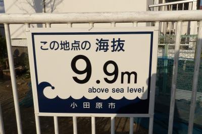 小田原市の海抜表示。