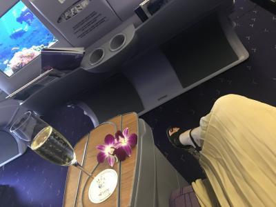 タイ航空にて羽田空港より出発。ビジネスクラスにてウェルカムドリンクのシャンパンを頂きました