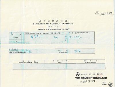 前年のドルが残っていたのか7月28日に<br />東京銀行船場支店でトラベラーズ・チェックを<br />50ドル分のみ購入している。<br />(当時はパスポート持参でないと外貨は買えず<br />パスポート No. が記載されている)<br />レートが 301円なので 15,050 円。<br />まだクレジット・カードも一般的な時代ではないし、<br />多分 僕など申請しても却下されただろう。<br />[日本のクレジット・カードは 60年代から存在したようだが<br />最初は国内専用だったらしい]