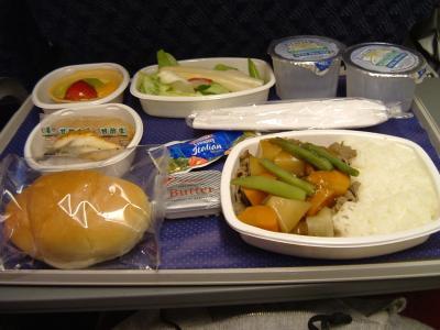 アメリカン航空の機内食。<br />お味のほうは・・・・・・う~ん。イマイチ。イェイ♪<br /><br />お腹もいっぱいになったことだし、そろそろ読書タイム・・・と思っていると、何やらくさいξξξ<br /><br />余談ですが、「くさい」で変換すると、このマークが出るって知ってました?私はこれξを、クサイマークって呼んでます。<br /><br />「何やこれ~!!!」旦那さんがびっくりしてアームレストを見ると、なんと!後ろのおばさんの足がにょきにょき~っと伸びてきているではありませんか!!<br />びっくりですよね。おじさんならまだしもおばさんですから。<br /><br />なんてお行儀の悪いおばさんなんだろう!!とムッっとして睨むと、、、、悪びれる様子もなくひっこめました。<br /><br /><br />くさいくさい!!強烈な納豆臭(怒)  <br />何を食べて、どんなことをしたら、こんなにくっさい足になるんだろうか??と真剣に考えてしまいました。<br /><br />いつも機内では乾燥対策でマスクをしているんだけど、今回は納豆臭対策としても大活躍でした♪本当にマスク様様ですよ。<br /><br /><br /><br />しばらく読書を楽しんでいると、またもや後ろのおばさんが摩訶不思議なことをやりだしました(怒)<br /><br />大音量の音楽が後ろから聞こえてくるのです。。。<br />すでに機内の電気も消えて眠っている人もいるのに。。。<br /><br />はじめはすぐ終わるだろうと思って知らんぷりしていたのですが、なかなか終わる気配がない。おばさん気づいてないのかな?いや、そんな訳ない。。。頭おかしいのかな?<br />っつ~か、連れのおじさん(旦那さん)注意しなよ!!<br /><br /><br />こんな時、うちの旦那さんはすぐに文句を言いに行く人なんですけど、足にょきにょき事件以来、<br /><br />『後ろのおばはん普通の人ちゃうで!頭おかしいって。何言ってもいっしょやで、あれ。だって顔も変やもん(顔は関係ないような・・・)。キモイし。だから関わらん方がええ。』と無視。<br /><br /><br />でも、どうにも我慢できない!!!っと思った矢先、客室乗務員の方が注意してくれたので、静かになりました。<br /><br />なんか、初日から嫌な思いをしたな・・・・・それからは普通に色んなことをして時間をつぶしました。<br /><br /><br /><br />☆今回機内でやった事(9時間)☆ <br />寝る→コーヒー飲む→1回目の機内食→機内雑誌を読む→空港で買った雑誌を読む→化粧を取る→寝る→空港で買った雑誌2冊目を読む→寝る→映画を見る→寝る→小説を読む→寝る→ジュースを飲む→ちょっと体操する→ベガスのガイドブックを読む→寝る→2回目の機内食→景色を眺める→到着<br /><br /><br />多動だな、私。<br /><br />
