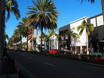 ロデオ・ドライブは高級ブランド店と背の高いパームツリーが<br />並ぶストリート。