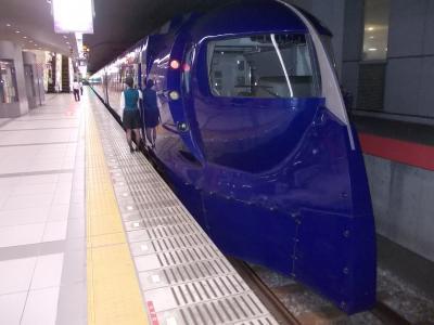 関西国際空港につき南海鉄道ホームへ。<br />フォルムが特徴の特急列車を横目に急行列車に乗る。
