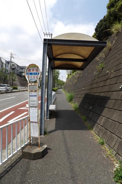 丸屋根の金井谷バス停。