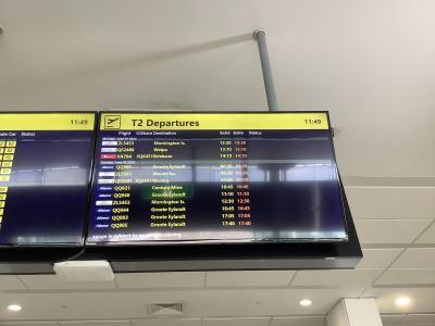 今日の飛行機はVA784なのですが、14:10出発で今日の最終便のようです。<br />国際線はポートモレスビー(パプアニューギニア)のみでブリスベンにはヴァージンオーストラリアとジェットスター。カンタスはクイーンズランド州から出るような飛行機はブリスベン以外からは出ていないようです。
