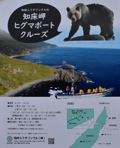「知床岬ヒグマボートクルーズ」(パンフレット)<br /><br />「知床らうすリンクル」の1便の9:00~11:30に乗船します。<br /><br />「知床サライ」ツアーに申し込めば、自動的に予約してくれます。<br />