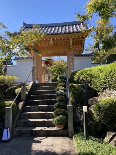 県道沿いの駐車場から少し路地を上がったところに山門があります。