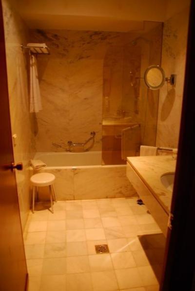 広い浴室。座って洗える椅子もいい