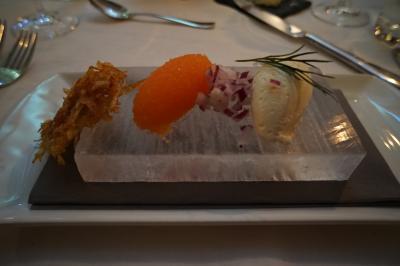氷を使った前菜、メインはトナカイ肉でした