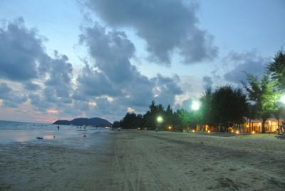 Front beach   in the evening