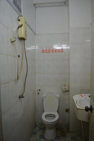同・シャワールーム。便器の左に尻洗い用ノズルがあるのが有り難