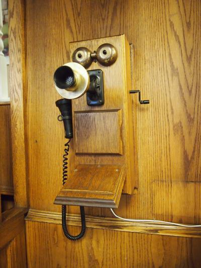 昔の電話やトナカイの剥製などレトロなロビーです