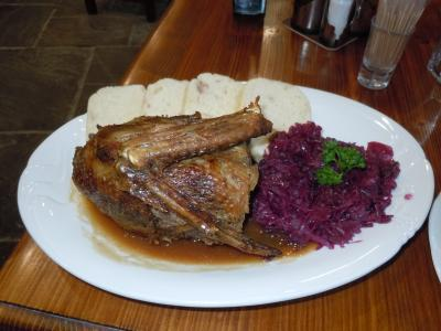 Roast duck, with red cabbage