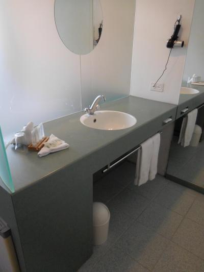 洗面スペース。ガラスの向こうがベッド、手前がバス・トイレ