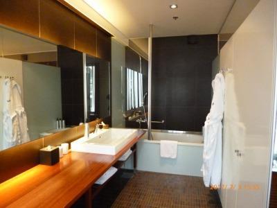 化粧台が広く使い易い。シャワーカーテン無く減点!