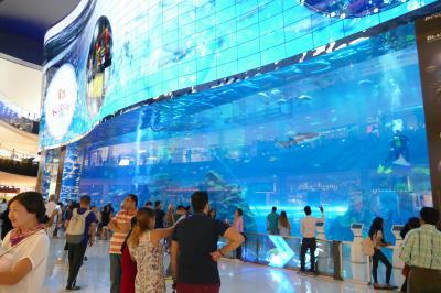 巨大水槽の水族館、レストラン街、ハリファが見える噴水広場がある巨大ショッピングモールです。