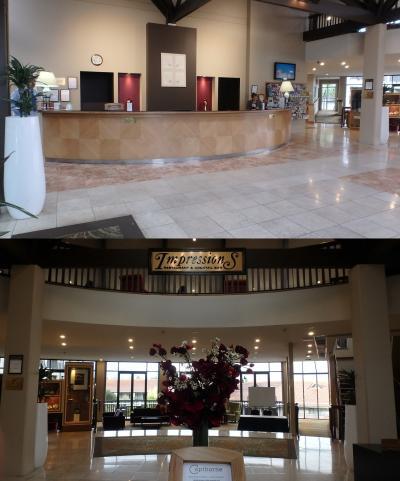 フロントとロビー。右手の階段を上るとレストランと展望テラス。