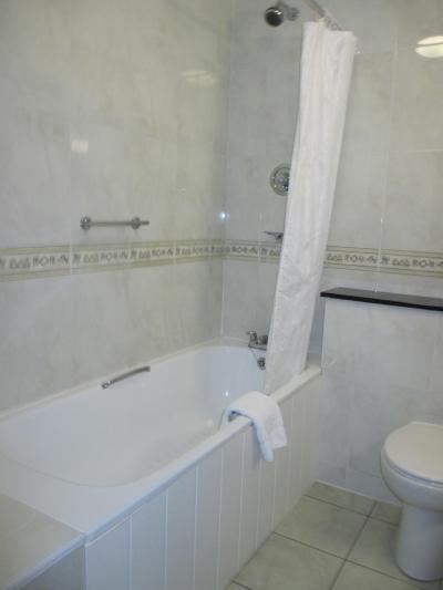 バスタブがありますが、固定式のシャワーヘッドの位置が高いです