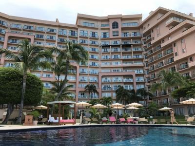 プールからホテル建物を見た感じ。