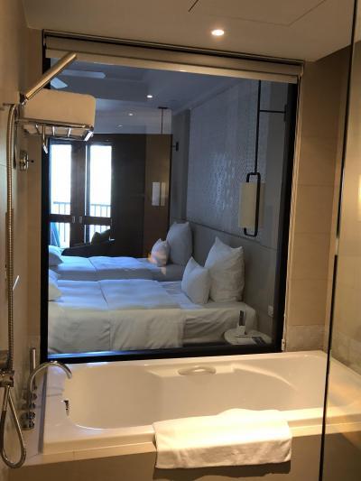 浴室とベッドの間がガラス1枚で丸見えです
