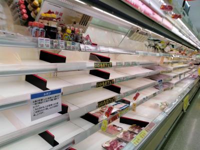 台風が通過すると、生鮮食料品がなくなるので注意