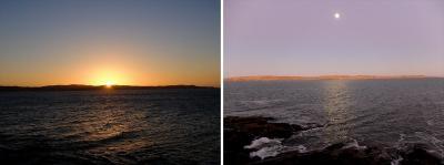 リューデリッツ湾と夕日や朝の月が眺められてロマンチック。