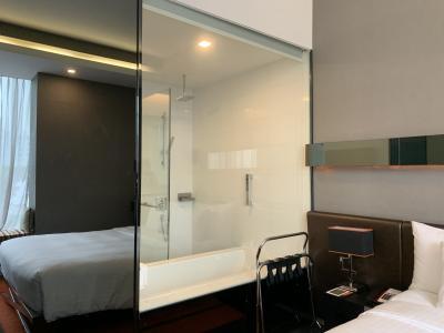 ガラス張りなので部屋からバスルームが見えます(スクリーンあり