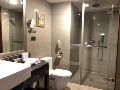 洗面所をはさんで右手にシャワーブース、左手にバスタブがありま