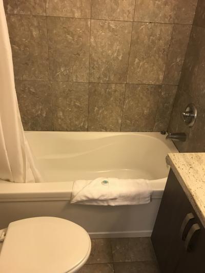 バスルームには、狭いながらバスタブあり