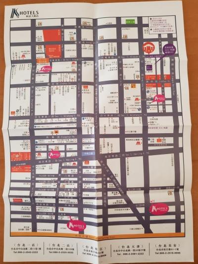 ホテルでいただいた周辺地図