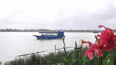 桟橋が直ぐ近くにありボートが出ています。