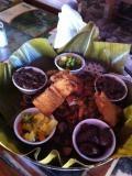 メインストリートにある店内がジャングルのようなコスタリカ料理のお店(サンホセ/コスタリカ)