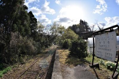 ひっそりと佇む廃線の駅跡と竹林