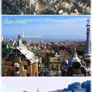 地中海とバルセロナ市街が輝く午後のグエル公園 Parc Guell