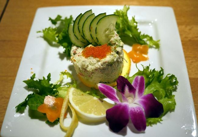 蟹とアボガド・タルタルソース $9.50−⇒¥807−