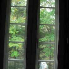 お部屋の窓から。緑が綺麗です。夏はカブトムシやら採れそう!