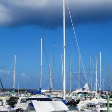 アガットマリーナに停泊したヨットの光景です。