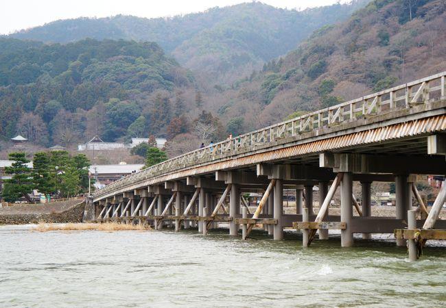 川からみた渡月橋です。