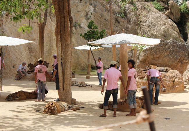 ピンクのTシャツのスタッフがガードマン役です。