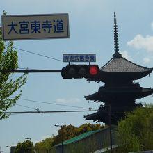 東寺付近の標識