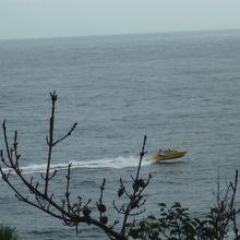 遊歩道からかなり離れると猛スピードでモーターボートが運行