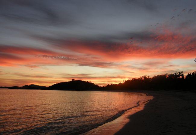 阿波連ビーチからの夕焼け