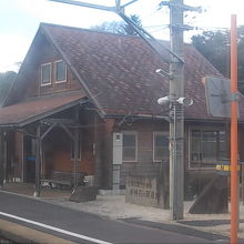 ホーム側から見た駅舎の様子