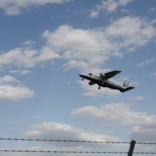 離陸する小型飛行機